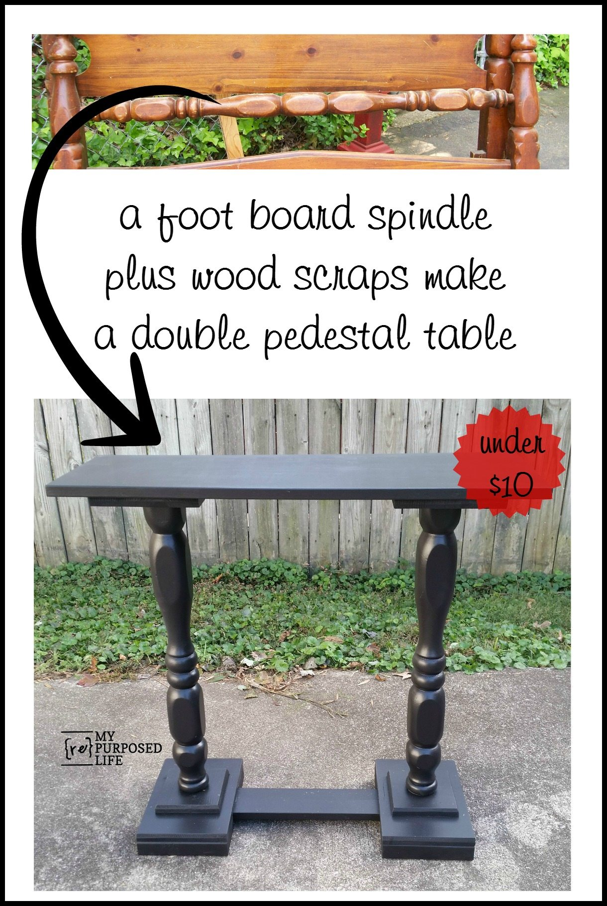 Repurposed Bed Spindle And Wood Scraps Make A Double Pedestal Sofa Table  For Under Ten Dollars