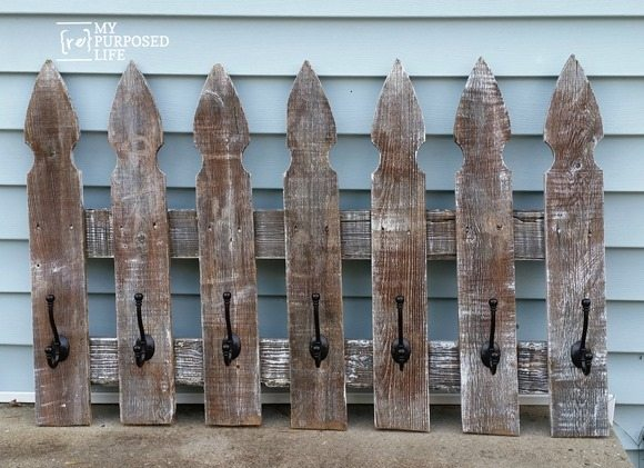 rustic whitewashed picket fence coat rack MyRepurposedLife.com