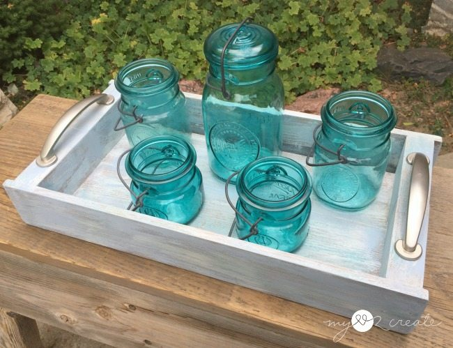 tray with mason jars
