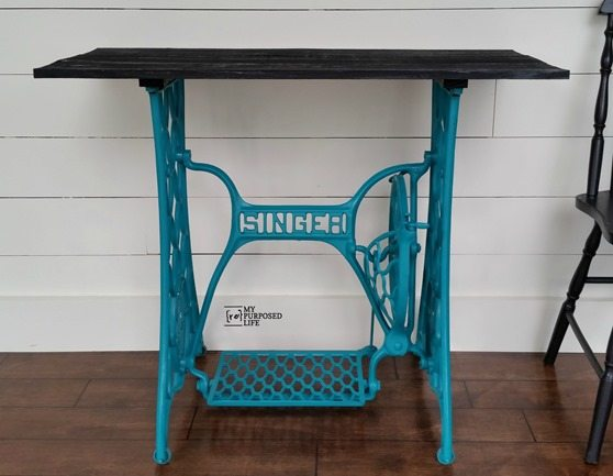 turquoise singer treadle base table