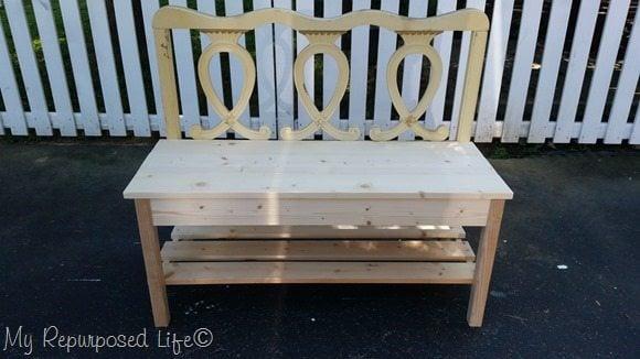 twin headboard bench with bottom shelf