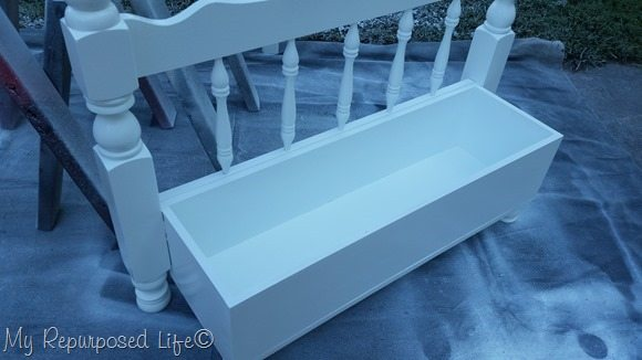 white toy box bench paint sprayer
