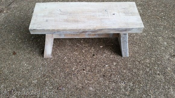 whitewashed small reclaimed wood bench