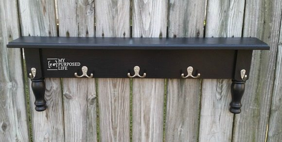 easy bedpost wall shelf with hooks MyRepurposedLife.com