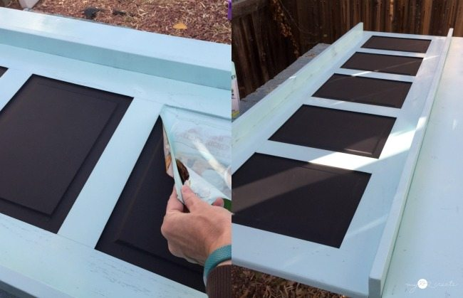 painting and removing paper on Chalkboard Coat Rack