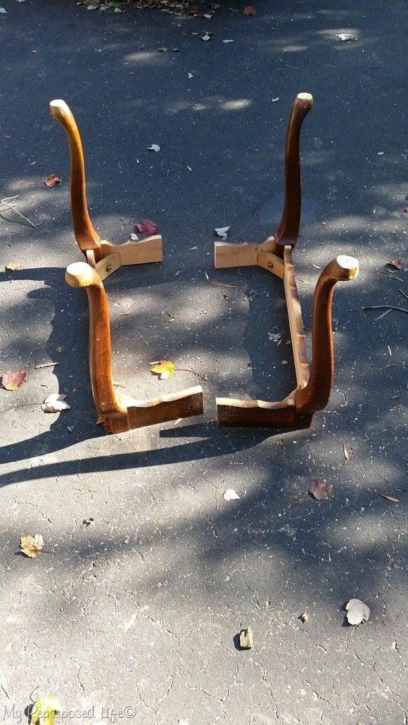 queen anne side table cut in half