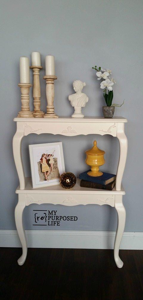 queen anne side tables into wall shelves MyRepurposedLife.com