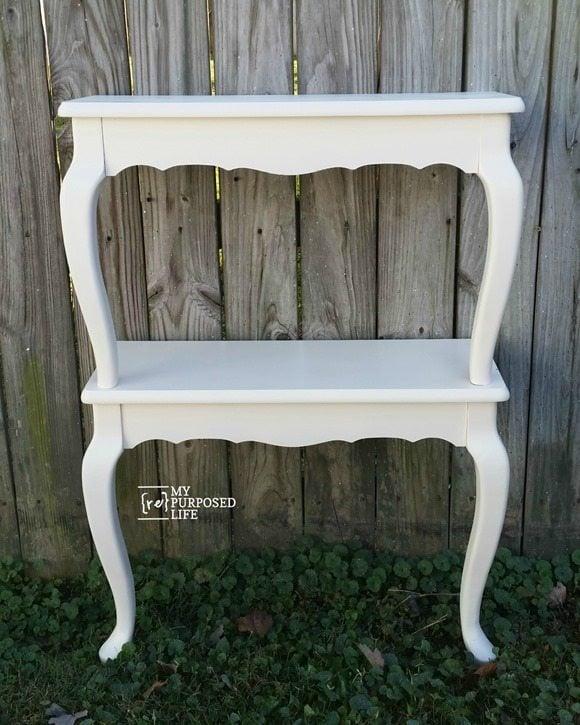 queen anne table shelves before embellishments MyRepurposedLife.com