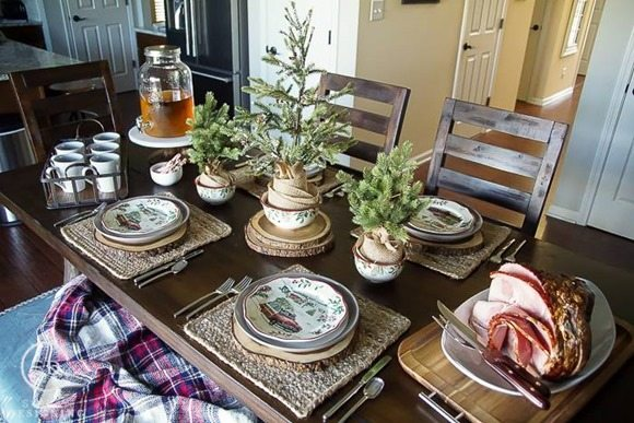 rustic holiday table setting