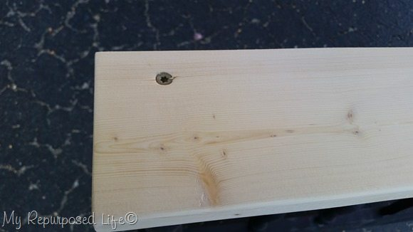 secure shelf with wood screw