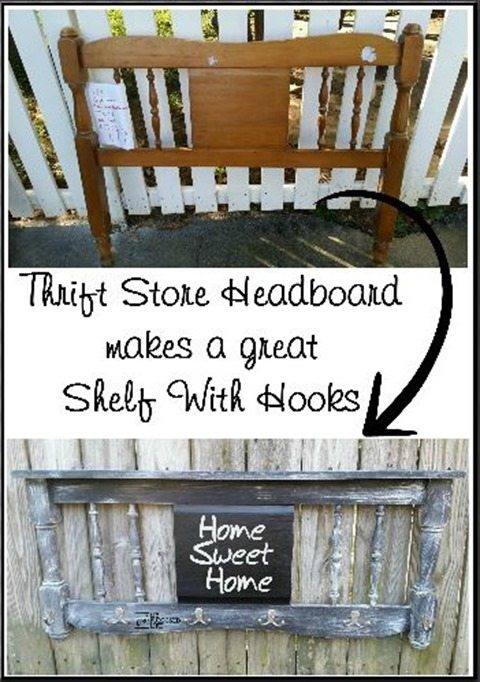 How to make a distressed chalkboard coat rack out of an old headboard. Easy weekend project to use up that old bunk bed that you have in storage. #MyRepurposedLife #repurposed #headboard #chalkboard #coatrack #distressed via @repurposedlife