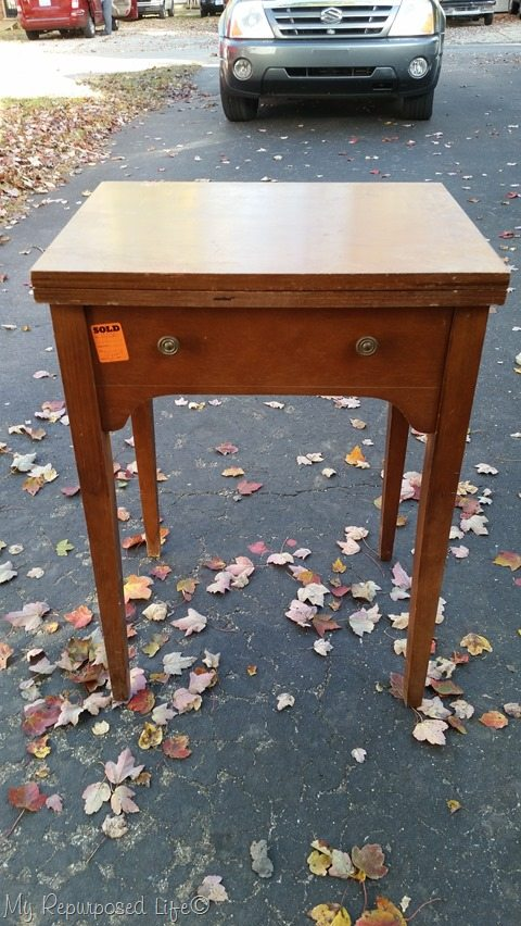 vintage sewing cabinet needs TLC