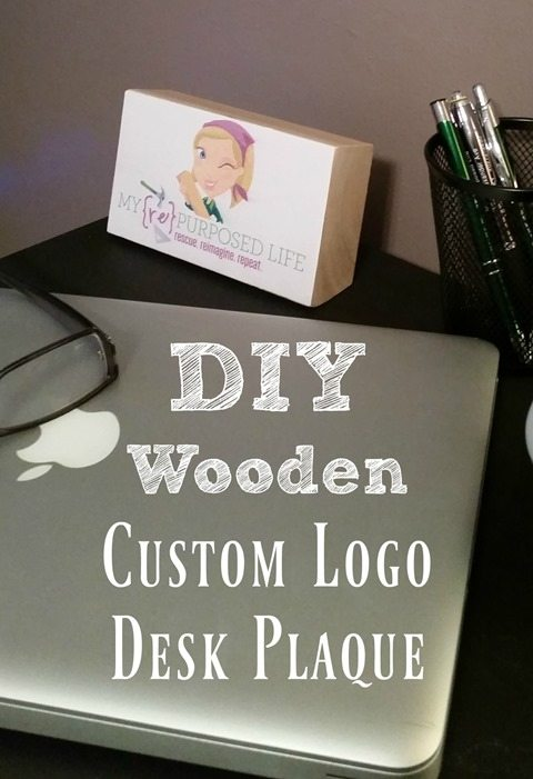 diy wooden custom logo desk plaque nameplate MyRepurposedLife.com
