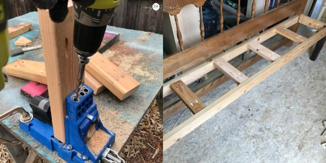 drilling pocket holes to add seat supports for bench