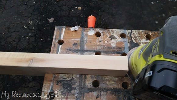sanding 2x4 desk plaque
