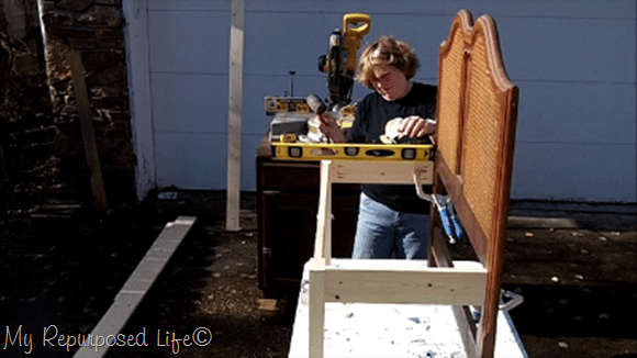 use level and right angle clamps to secure bench to headboard