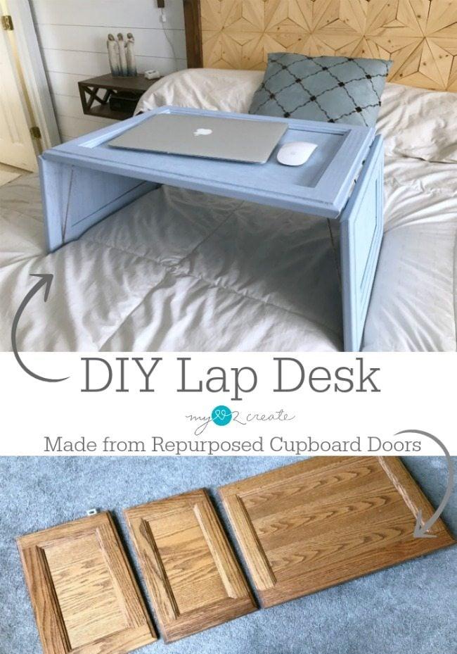 DIY Lap Desk made from repurposed cupboard doors