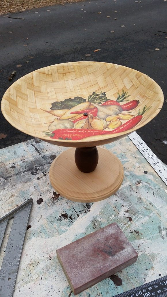 DIY pedestal bowl lightly sand shine away