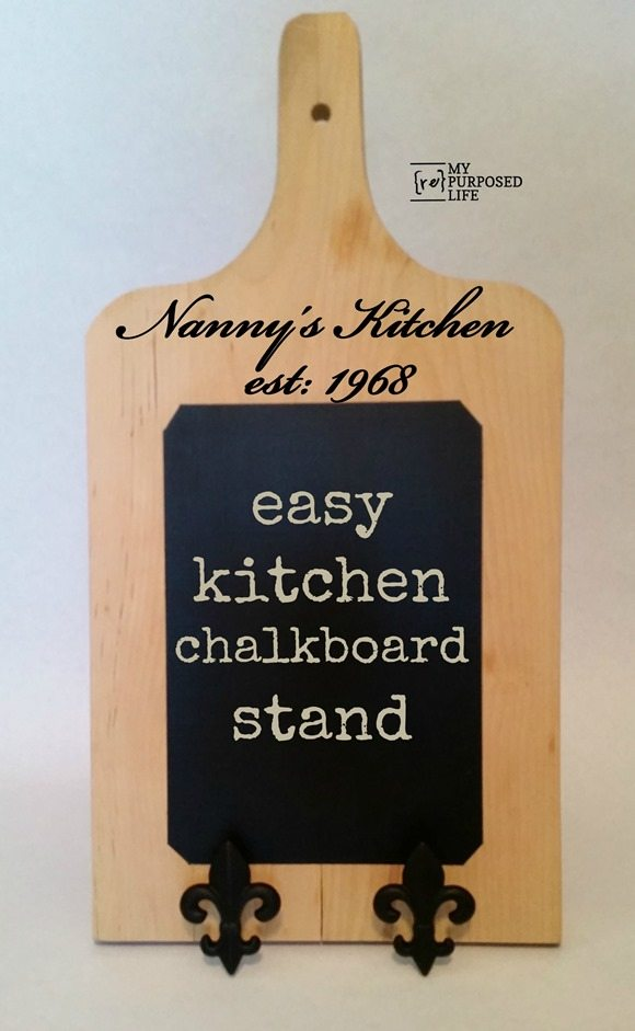easy cutting board customized chalkboard stand for cookbooks or iPads MyRepurposedLife.com