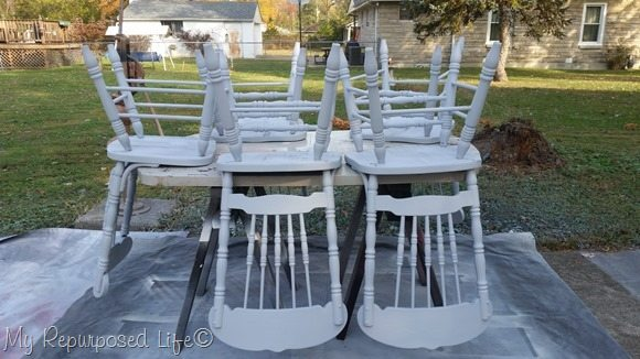 how to paint dining chairs with a finish max paint sprayer MyRepurposedLife.com