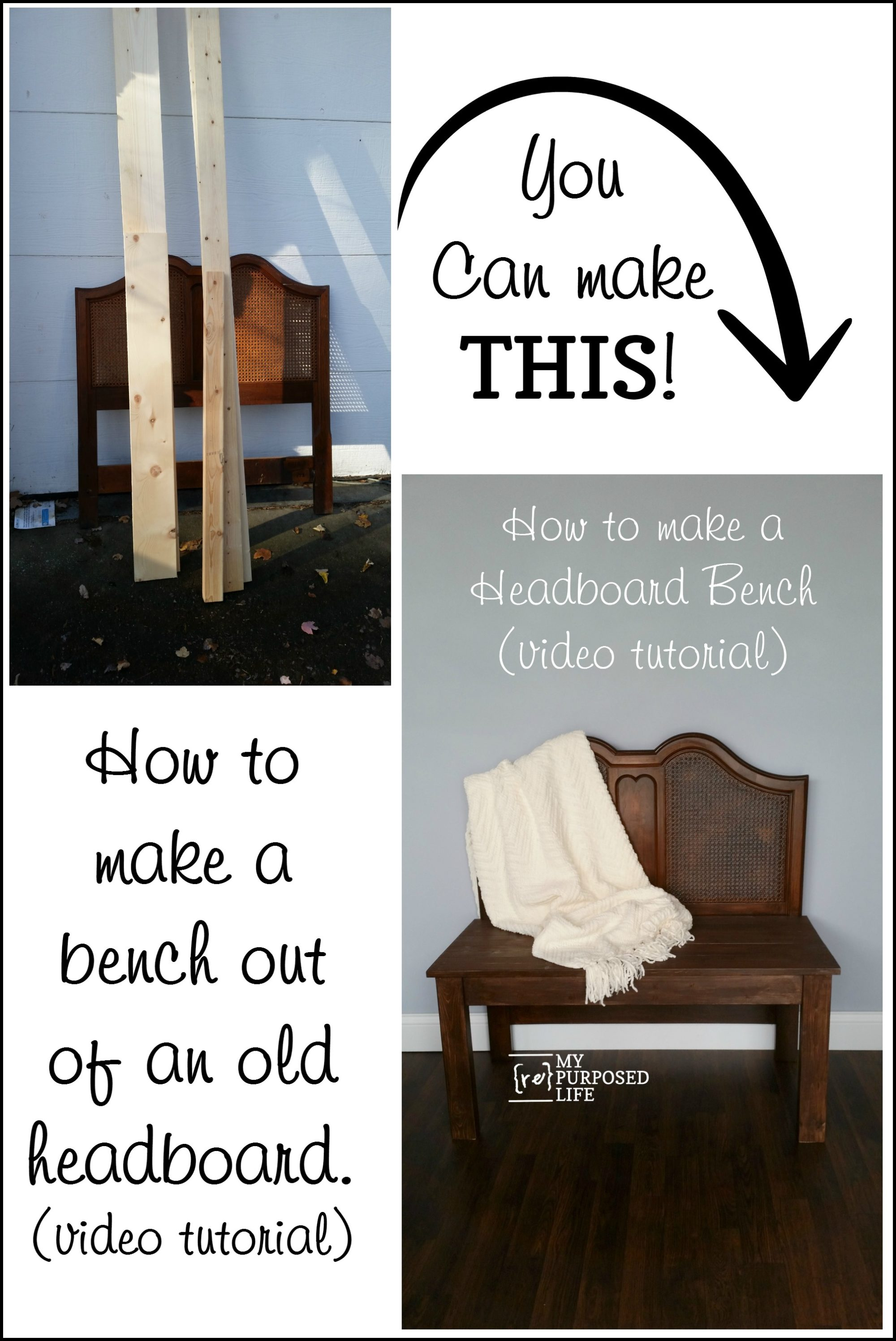 Bench Out Of Headboard How To Build A Headboard Bench Video My Repurposed Life