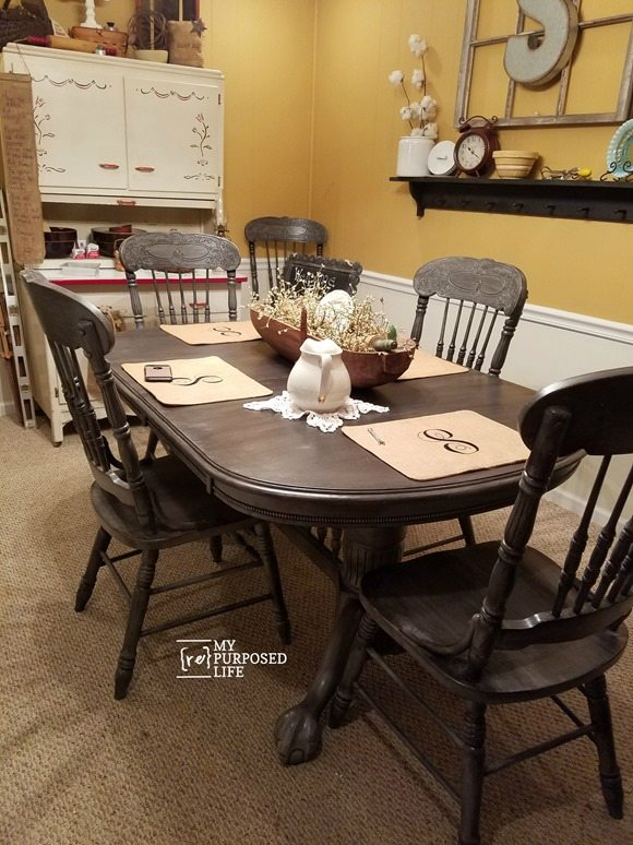 oak dining table chairs painted gray black MyRepurposedLife.com