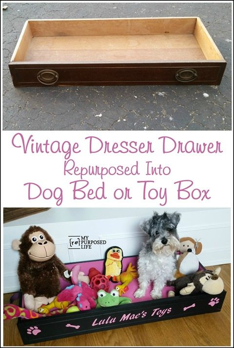 vintage dresser drawer repurposed into dog bed or toy box MyRepurposedLife.com