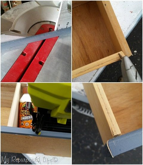 add trim to drawer cubby MyRepurposedLife.com