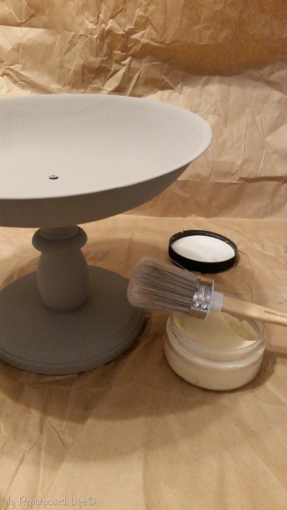 gray pedestal bowl white wax