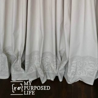 IOD roller stamped drop cloth grommet curtains