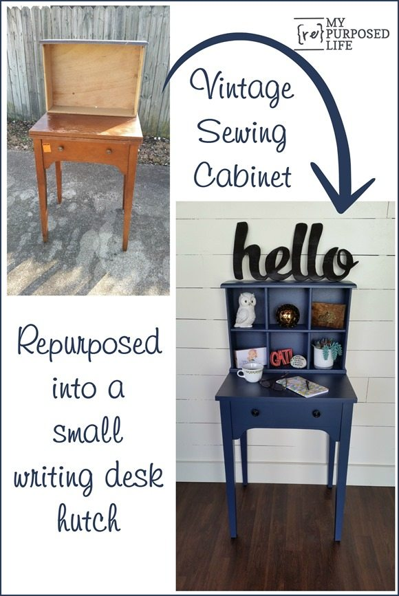 Navy Blue Writing Desk Hutch Made From A Sewing Cabinet