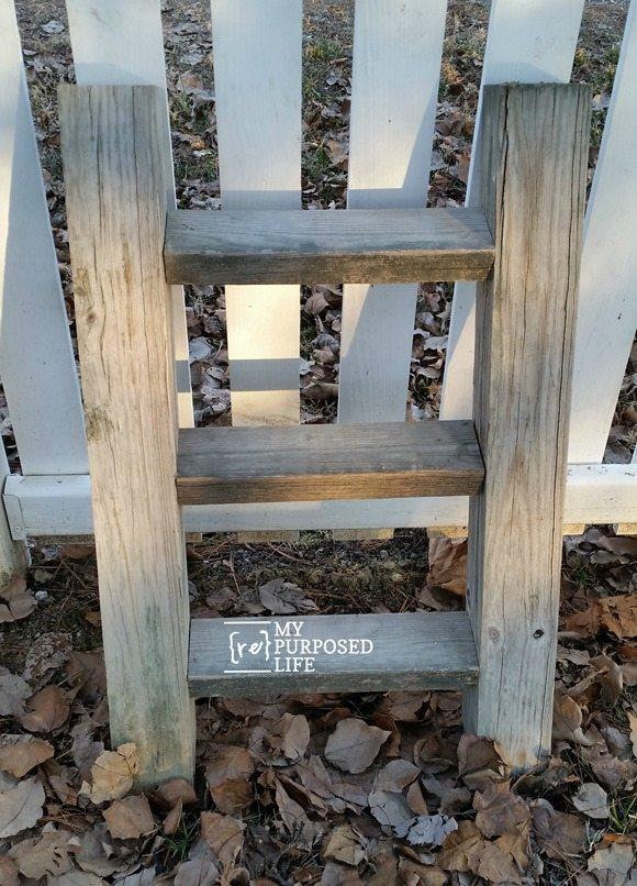 rustic ladder reclaimed wood plant display for outdoors MyRepurposedLife.com