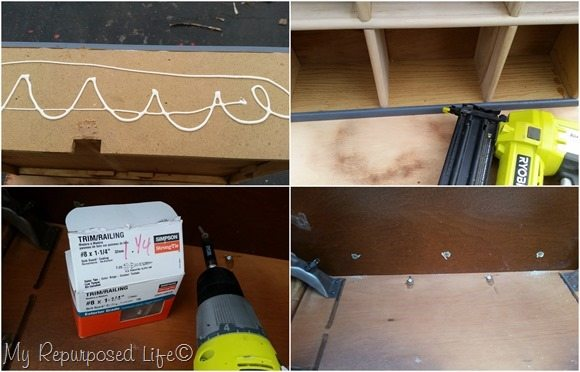 secure cubby drawer to sewing machine cabinet MyRepurposedLife@gmail.com
