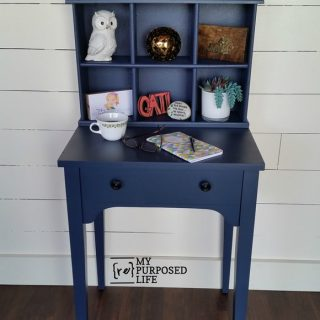 Navy Blue Writing Desk Hutch made from a sewing cabinet and an old drawer