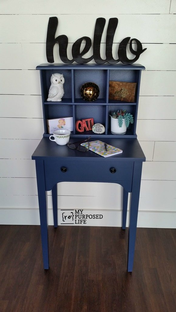 Navy Blue Writing Desk Hutch My Repurposed Life 174