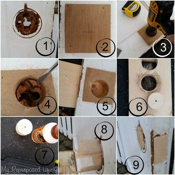 step by step how to plug a door knob hole MyRepurposedLife.com