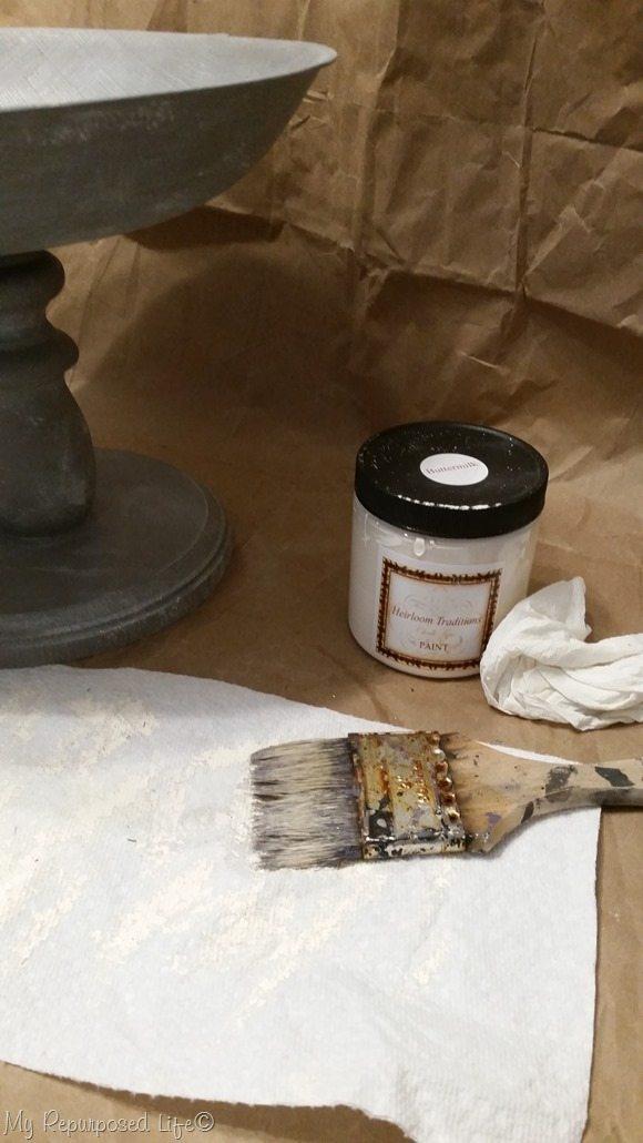 using white paint to distress gray pedestal bowl