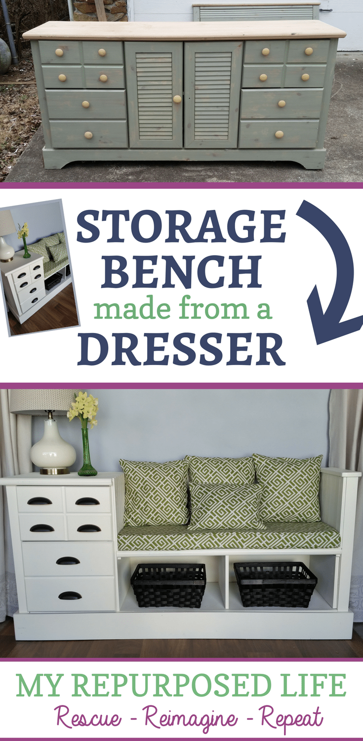 turn a cheap dresser into a useful storage bench MyRepurposedLife