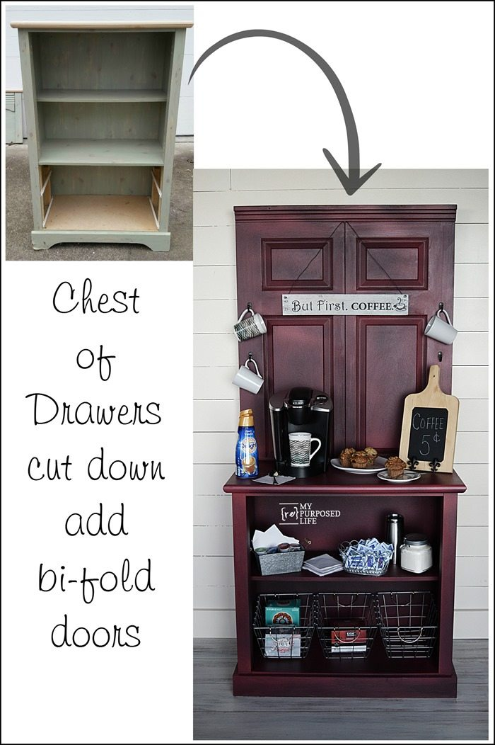 repurposed dresser and bi-fold doors make a coffee station cabinet MyRepurposedLife.com