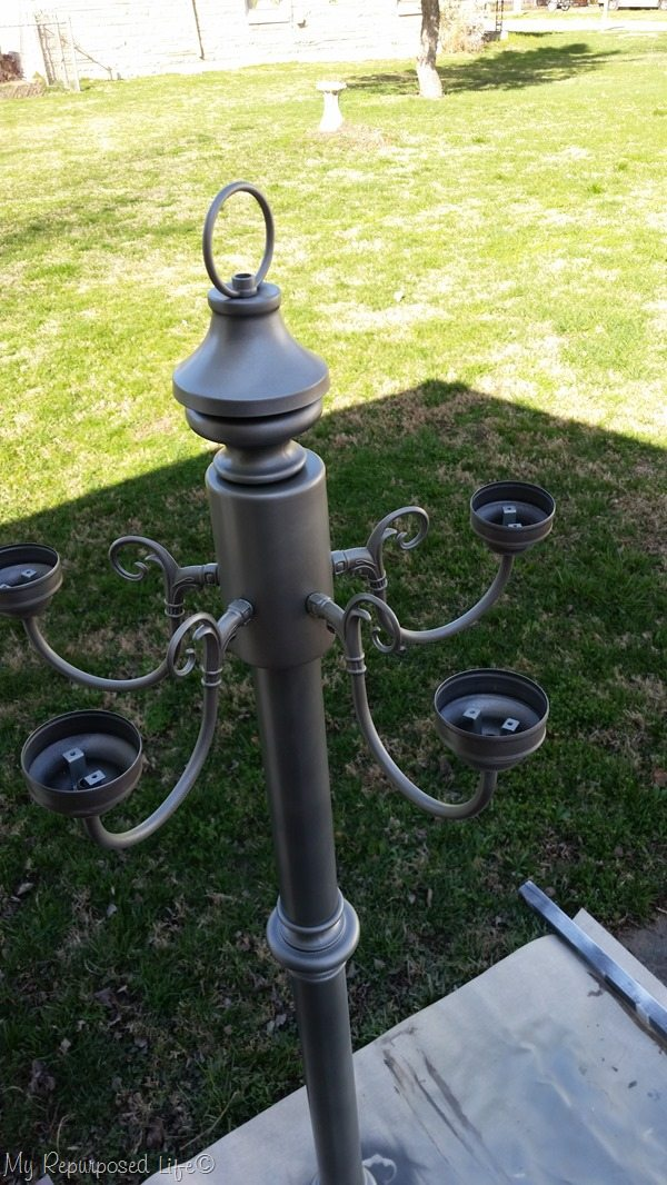 add chandelier to floor lamp post