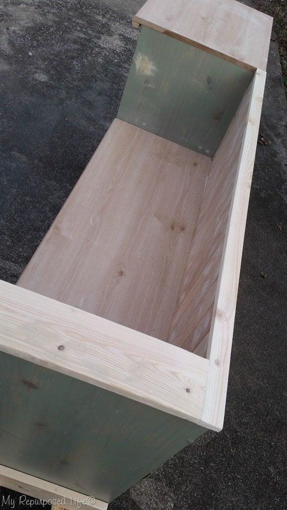 add top trim to finish off dresser storage bench