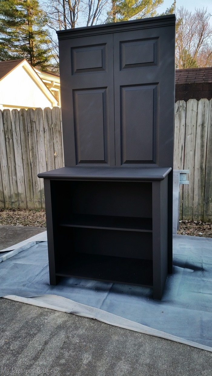after diy chalky paint primer bi-fold doors coffee station