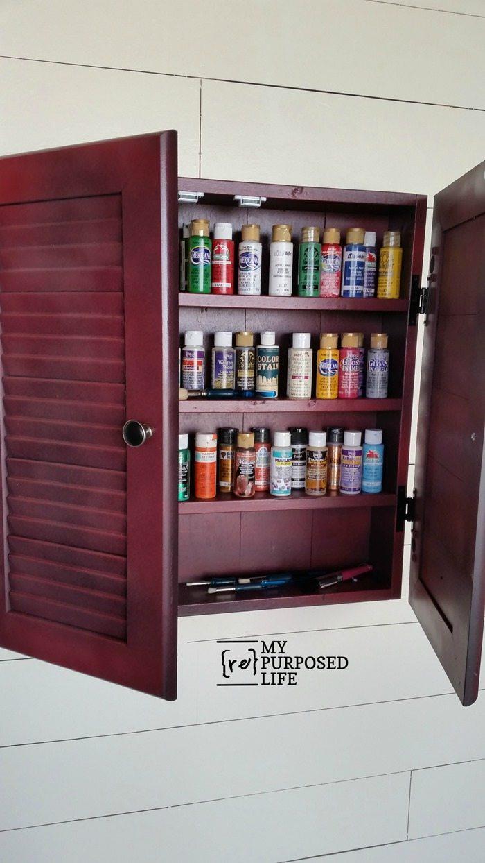 craft wall cabinet made from reclaimed louvered doors MyRepurposedLife.com