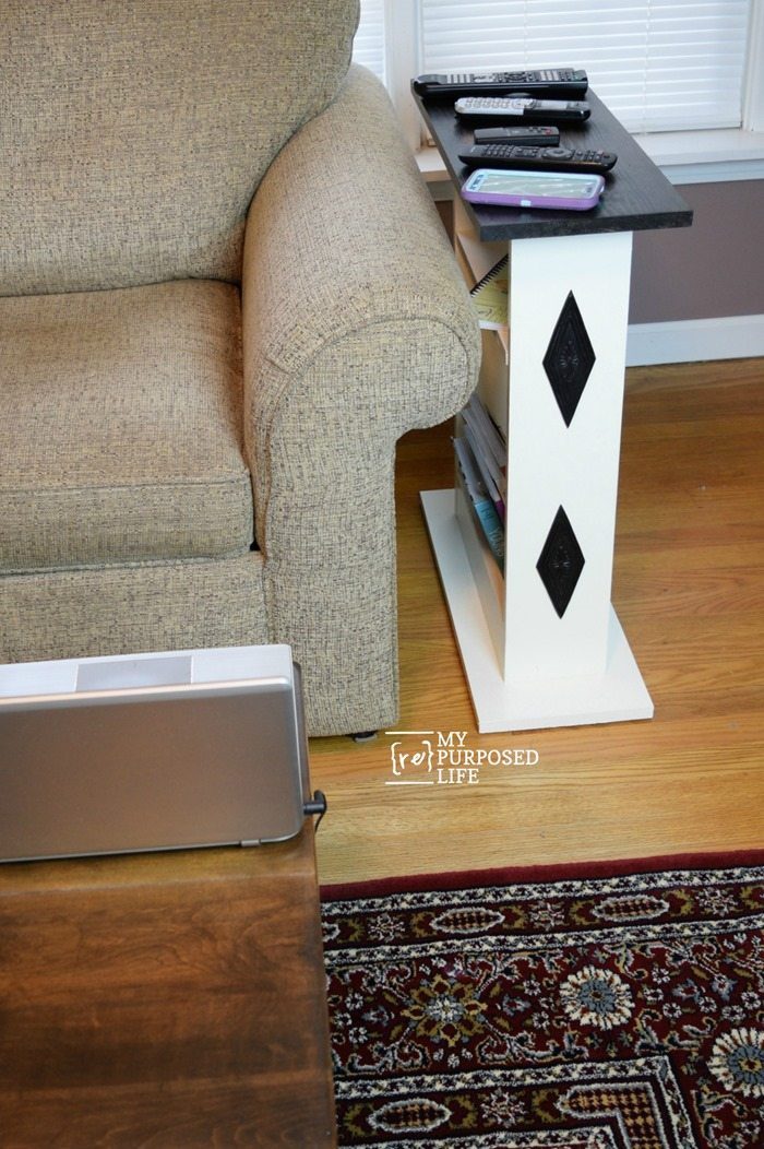 customized sofa side table to hold remotes and magazines MyRepurposedLife.com