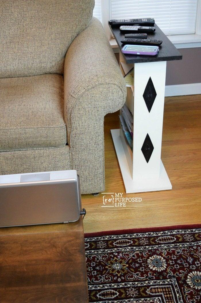 customized sofa side table to hold remotes and magazines MyRepurposedLife.com