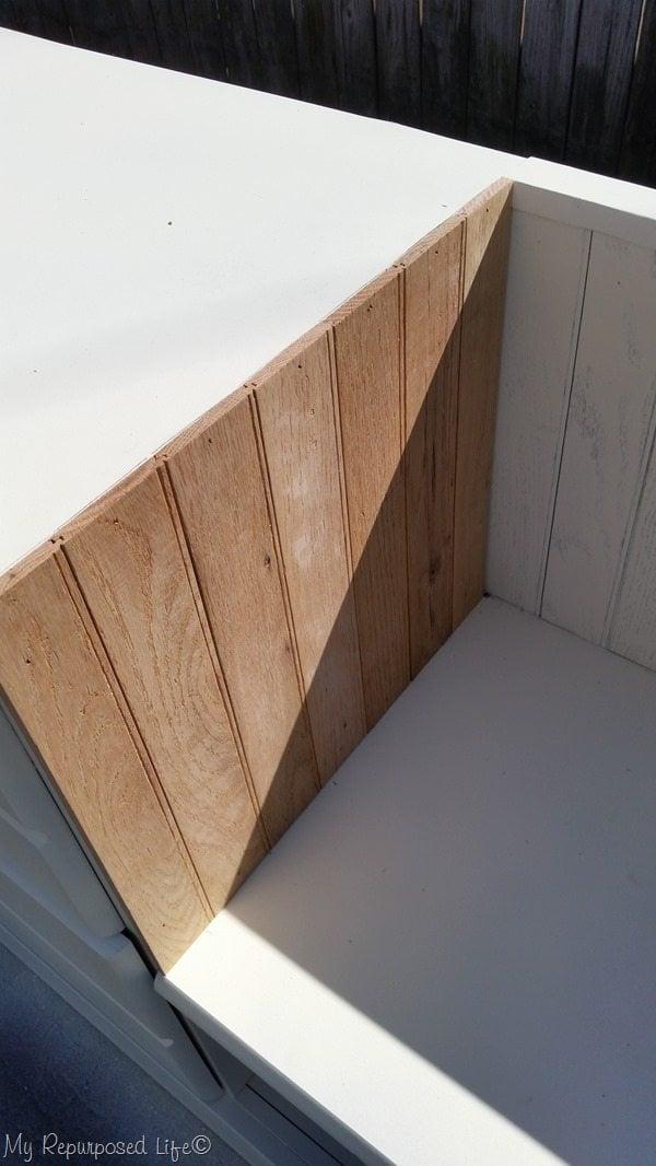 diy beadboard with hardwood flooring