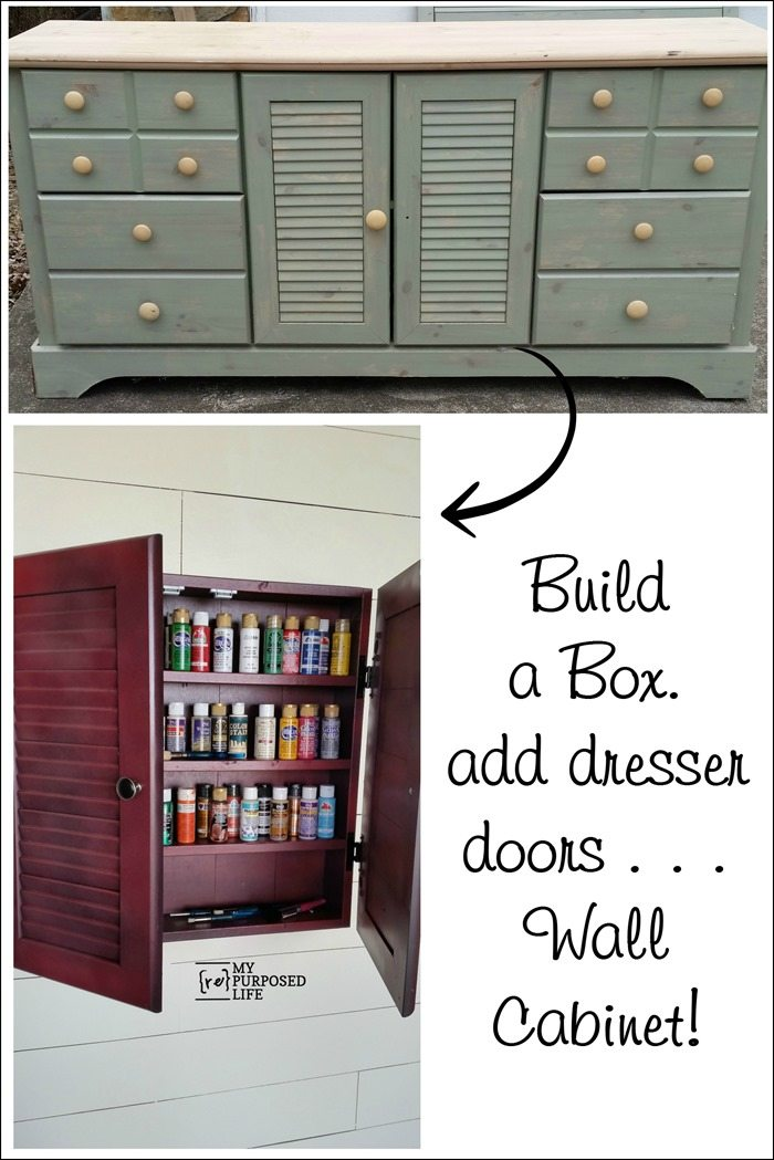 dresser doors made into a wall craft cabinet MyRepurposedLife.com