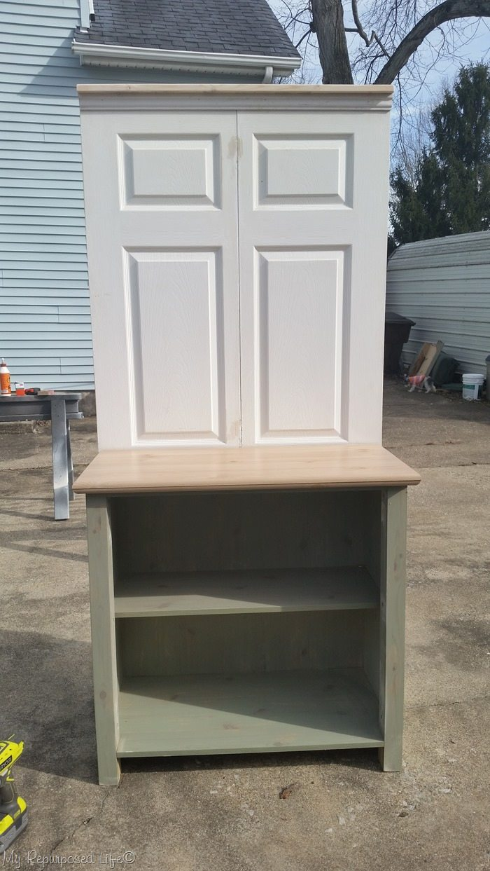 how to bi-fold door coffee station cabinet