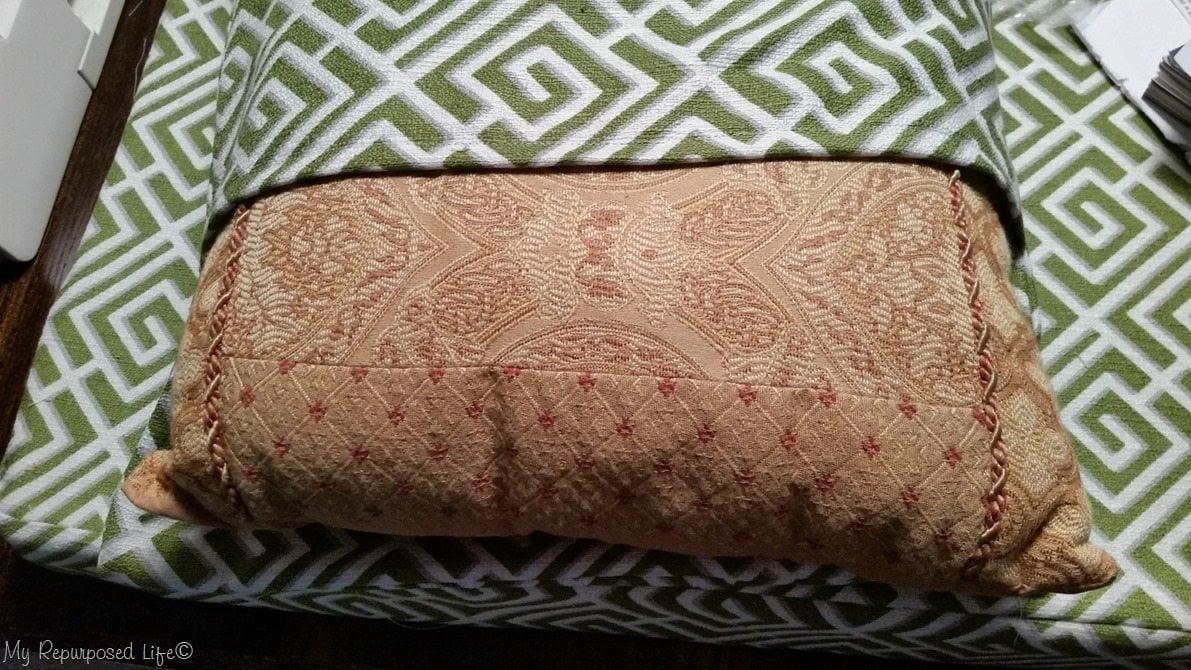 insert thrift store pillow into envelope pillow case