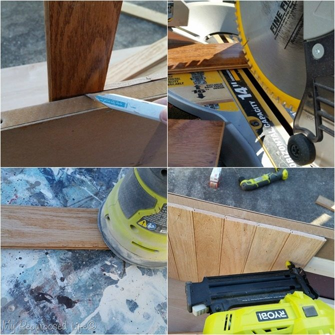 mark cut sand nail hardwood floor for bead board dresser back
